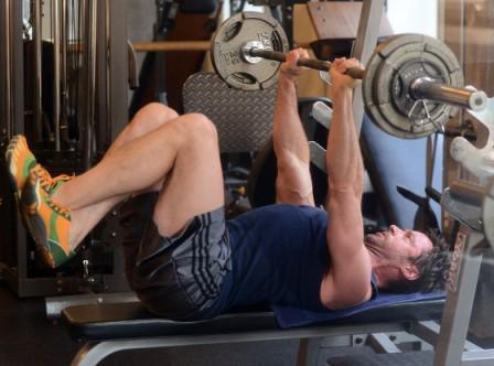 Hugh Jackman workout at gym