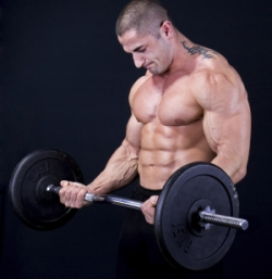 Man with a bar weights in hands training