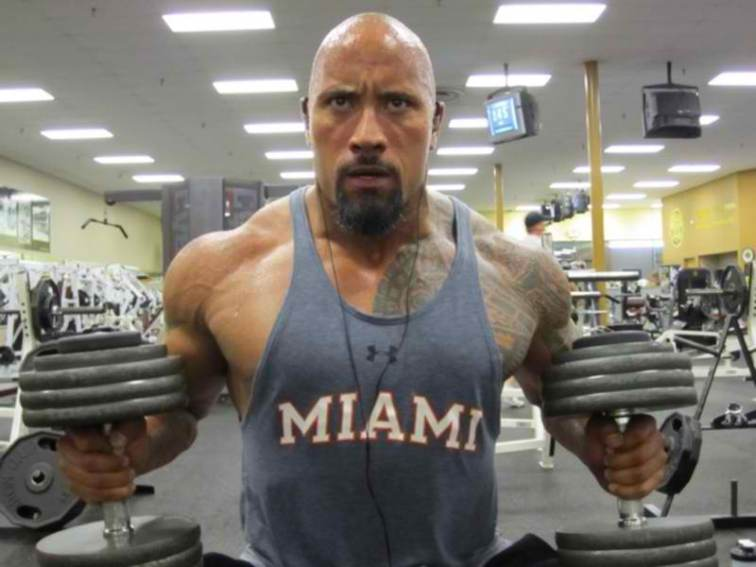 dwayne johnson gym weight lifting