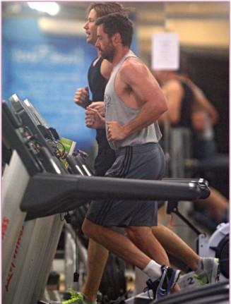 hugh Jackman at gym